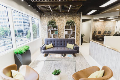 Executive suite lobby in commercial office building in Dallas