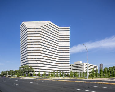 Exterior of commercial building with private offices and executive suites in Houston, Texas