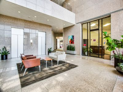 Lobby of commercial office building with private suites in Plano, Texas