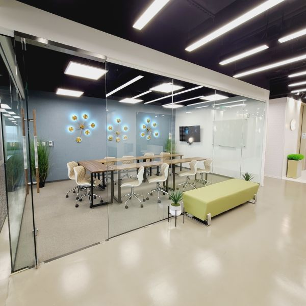 Waiting area in commercial office building