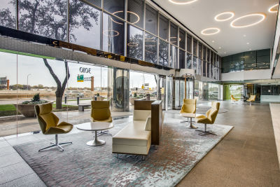 Lobby of commercial office building with private suites in Dallas, Texas