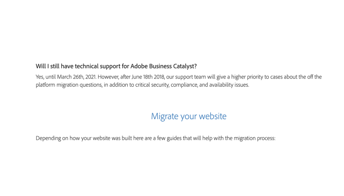 Will I still have technical support for adobe business catalyst