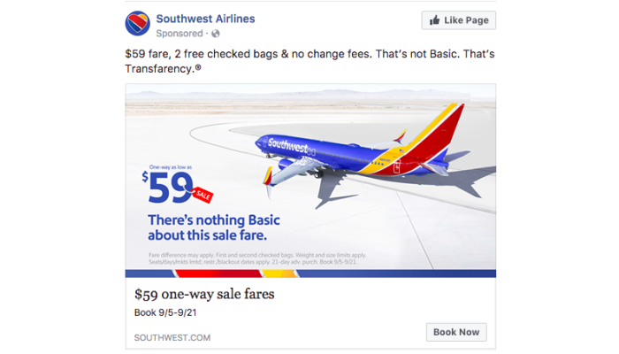 Southwest Airlines ad on Facebook example
