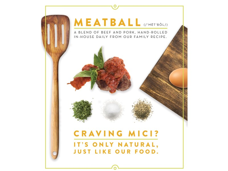 Mici Handcrafted Italian – Meatball Sign