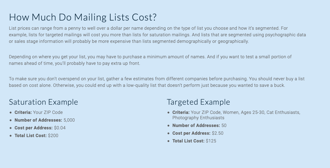 How Much Do mailing Lists Cost?