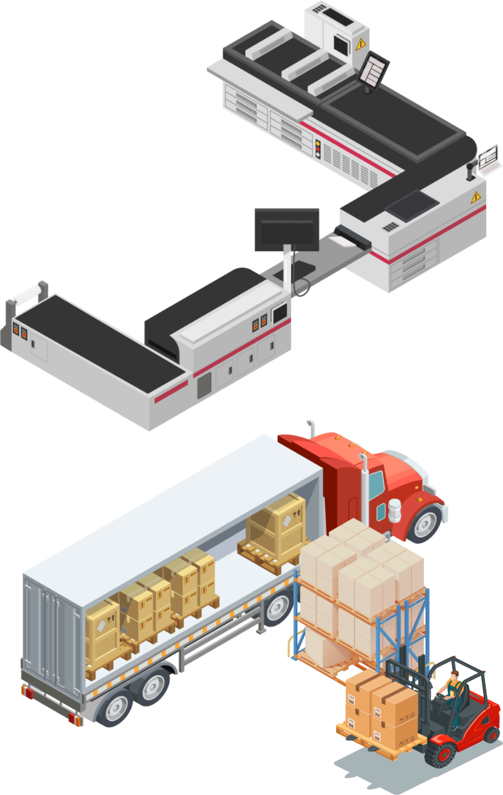 digital art - industrial printer above shipping truck and forklift