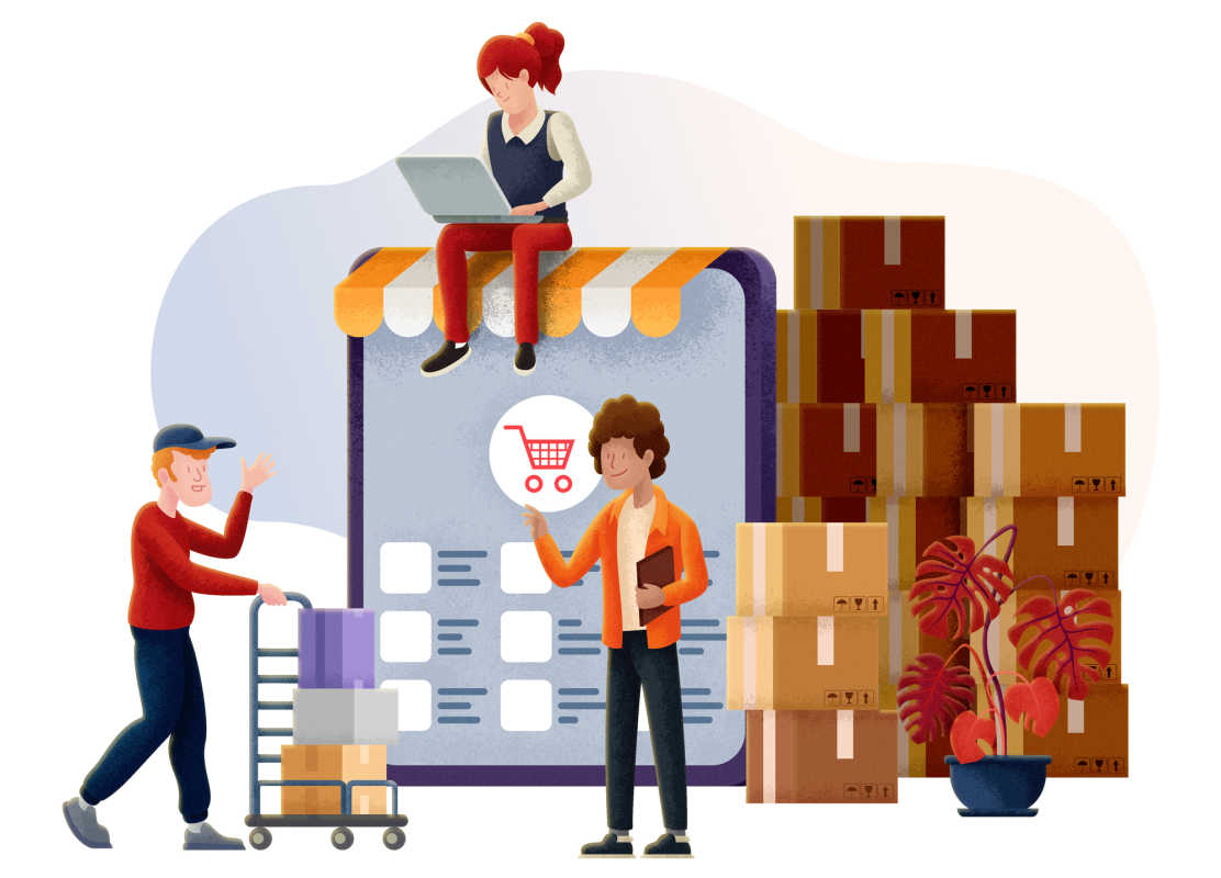 Illustration of a courier collecting packages from the warehouse