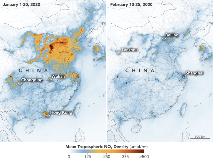 china air pollution decrease after coronavirus. Photo credit to NASA and ESA