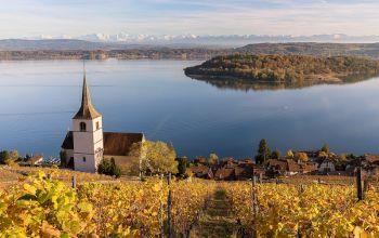 Ein Glas Wein mit Blick auf den See