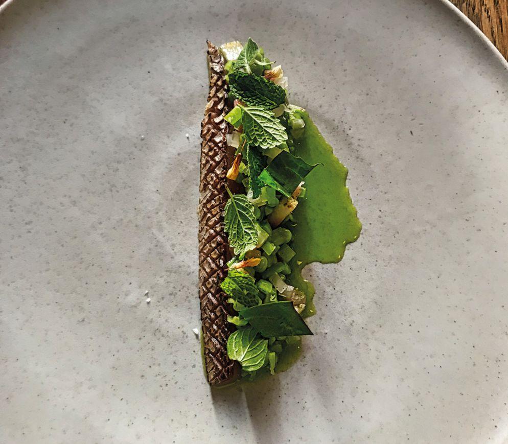 Die Makrele mit Borretschblüten und geräuchertem Eigelb ist typisch für das «Amass».