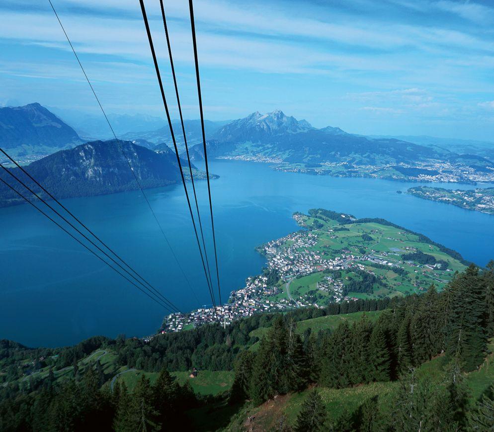Beste Aussichten: Mit der Seilbahn von Weggis nach Rigi Kaltbad.