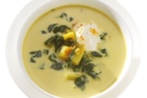 Kartoffel-Spinat-Suppe mit Curry