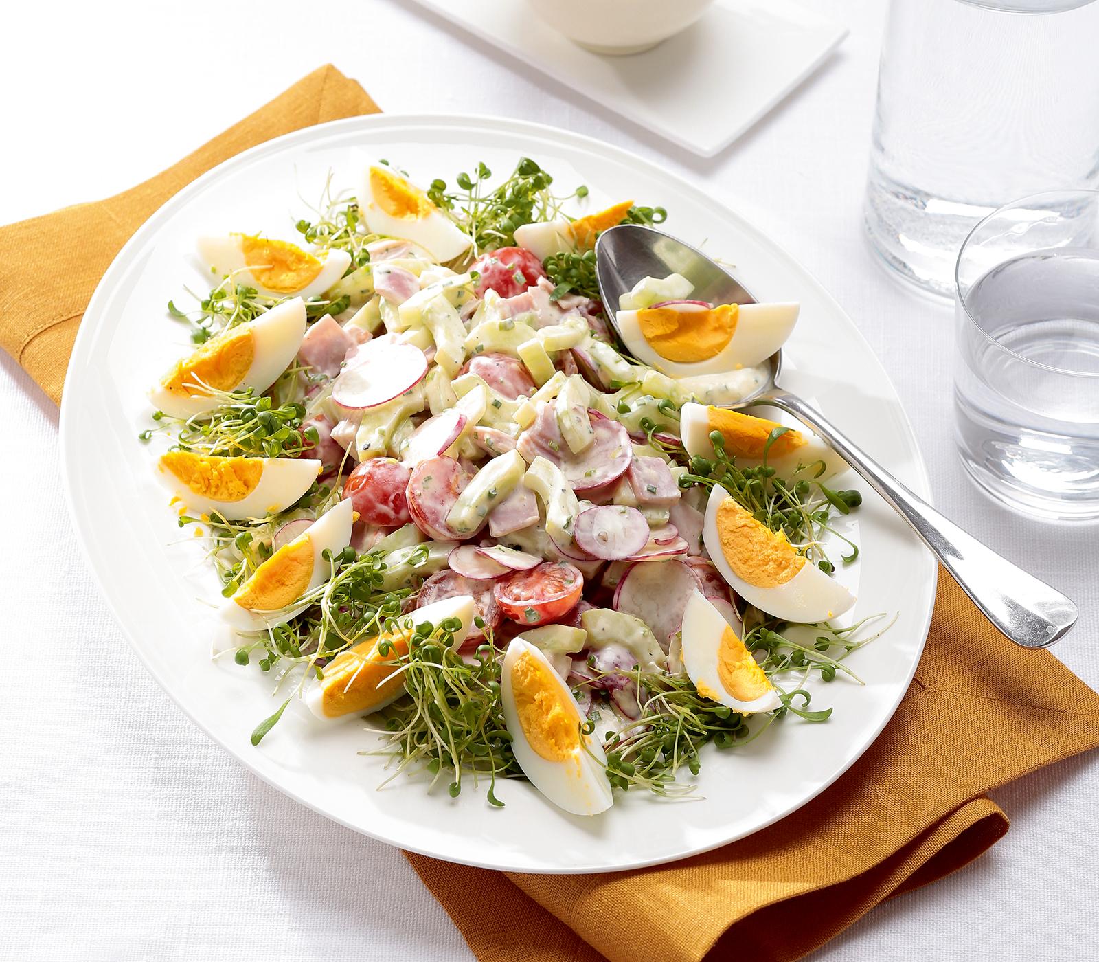 Eier gem se salat mit schinken annemarie wildeisen 39 s kochen - Eier platzen beim kochen ...