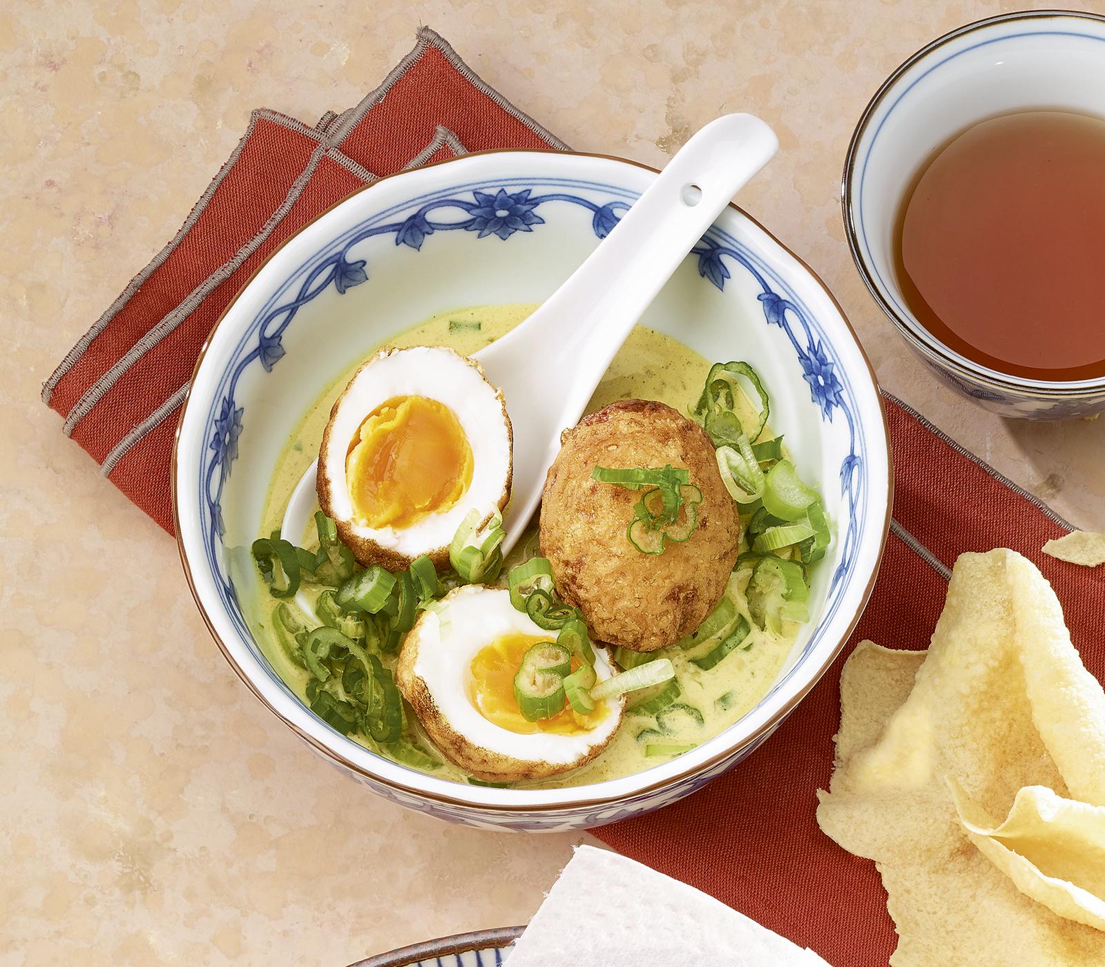 Gebackene eier in gew rzsauce annemarie wildeisen 39 s kochen - Eier weich kochen minuten ...