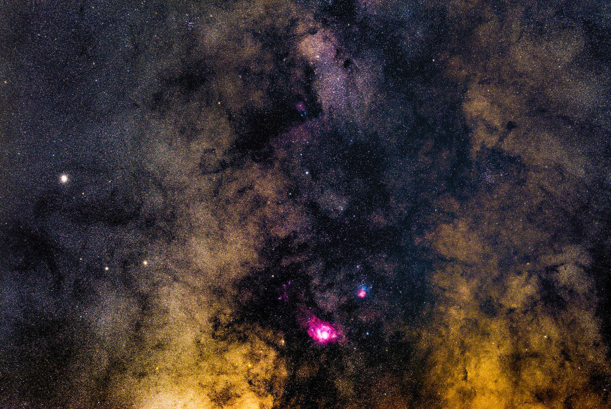 Lagoon and Trifid Nebulae Wide Field 2019