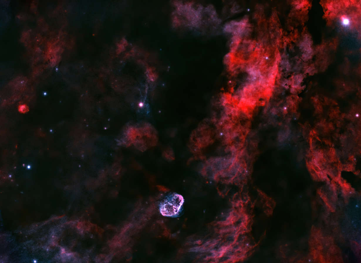 The Crescent Nebula and Interstellar Gas Clouds