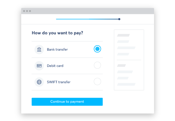 Payment method selection screen