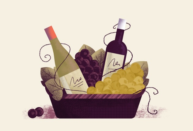 Wine basket with different type of wines and grapes