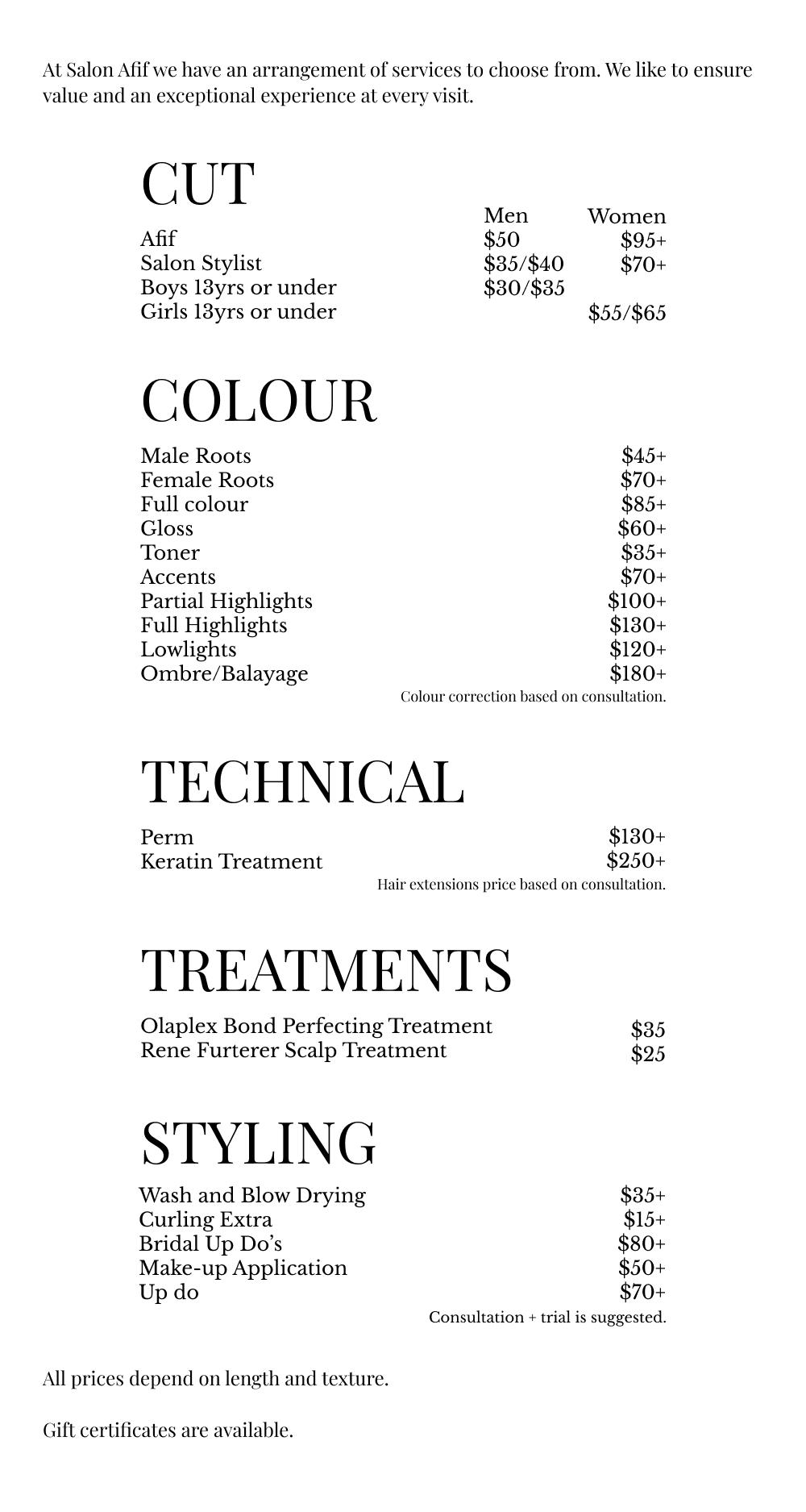 Salon Afif Hair Services