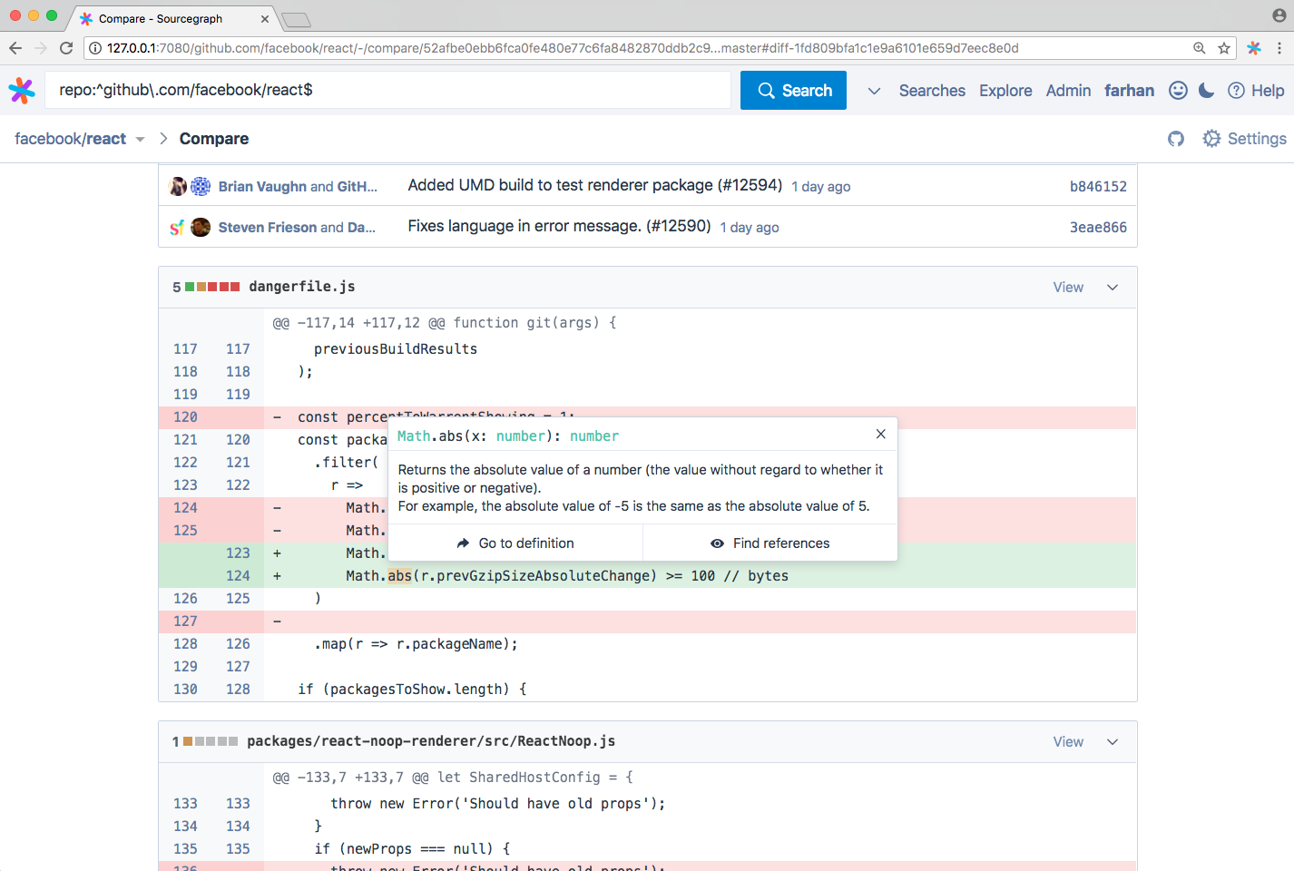 Sourcegraph 2.7: code intelligence in pull requests and commit diffs