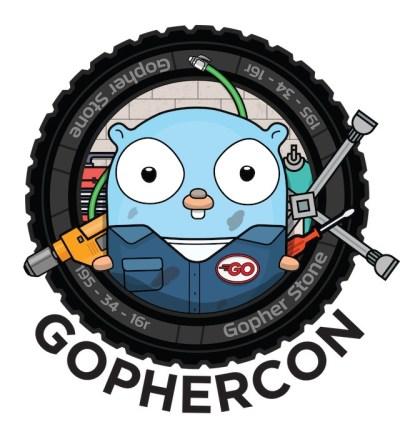 GopherCon 2018 Banner. Gophers riding around on Go Karts. Cute!