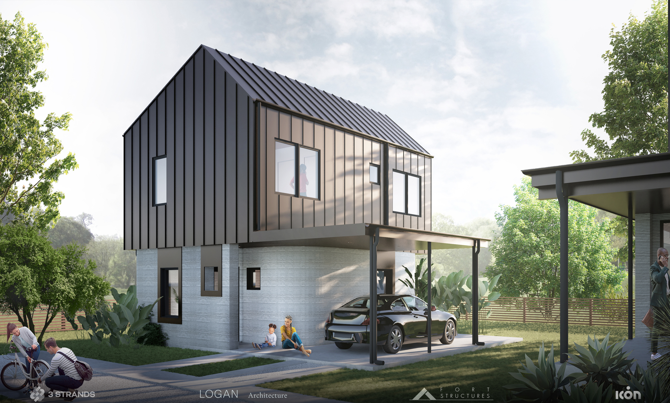 3Strands and ICON 3D-Printed Homes AustinTX 2021 Exterior 3 Credit-LoganArchitecture