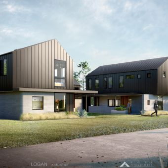 3Strands and ICON 3D-Printed Homes AustinTX 2021 Exterior0 Credit-LoganArchitecture