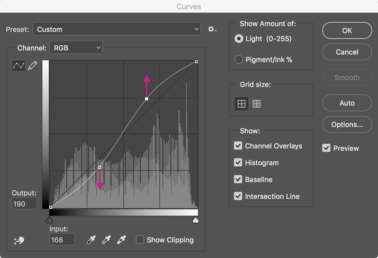 Photoshop - curves - S shaped adjustment