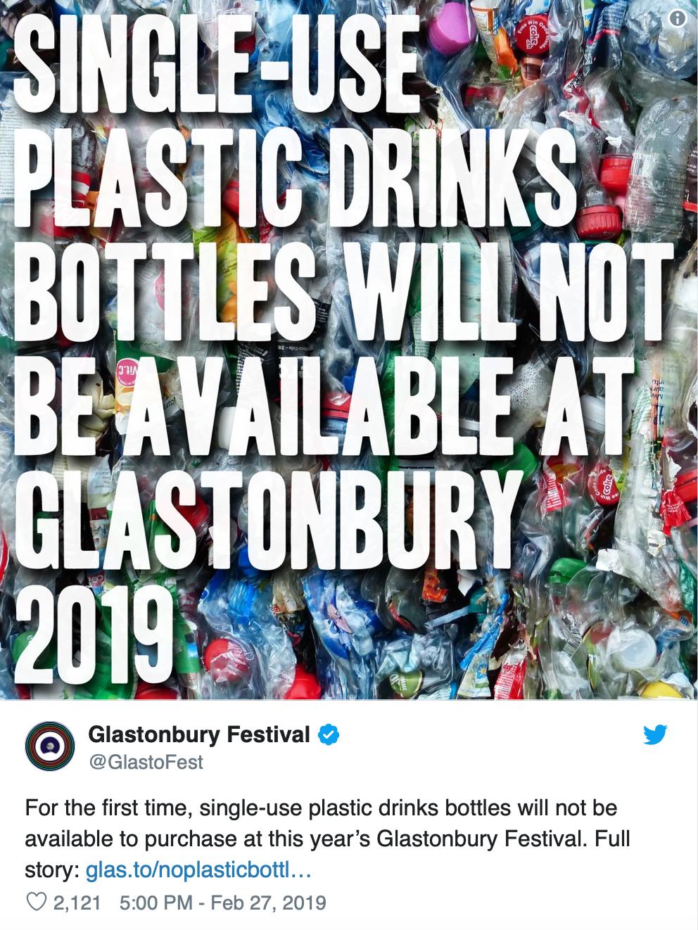 Glastonbury Bans Single Use Plastic Bottles | TOTUM