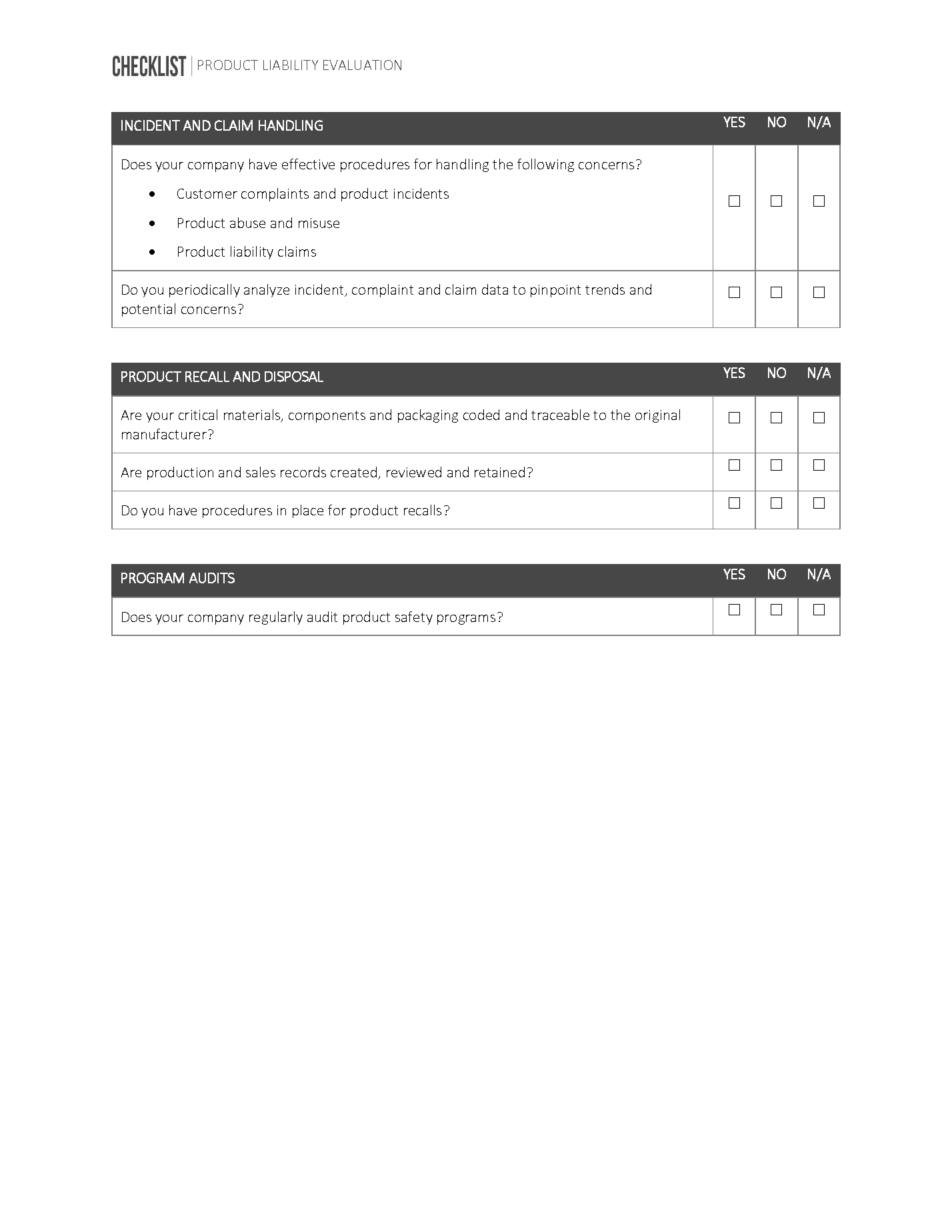 Product Liability Evaluation Checklist Page 3