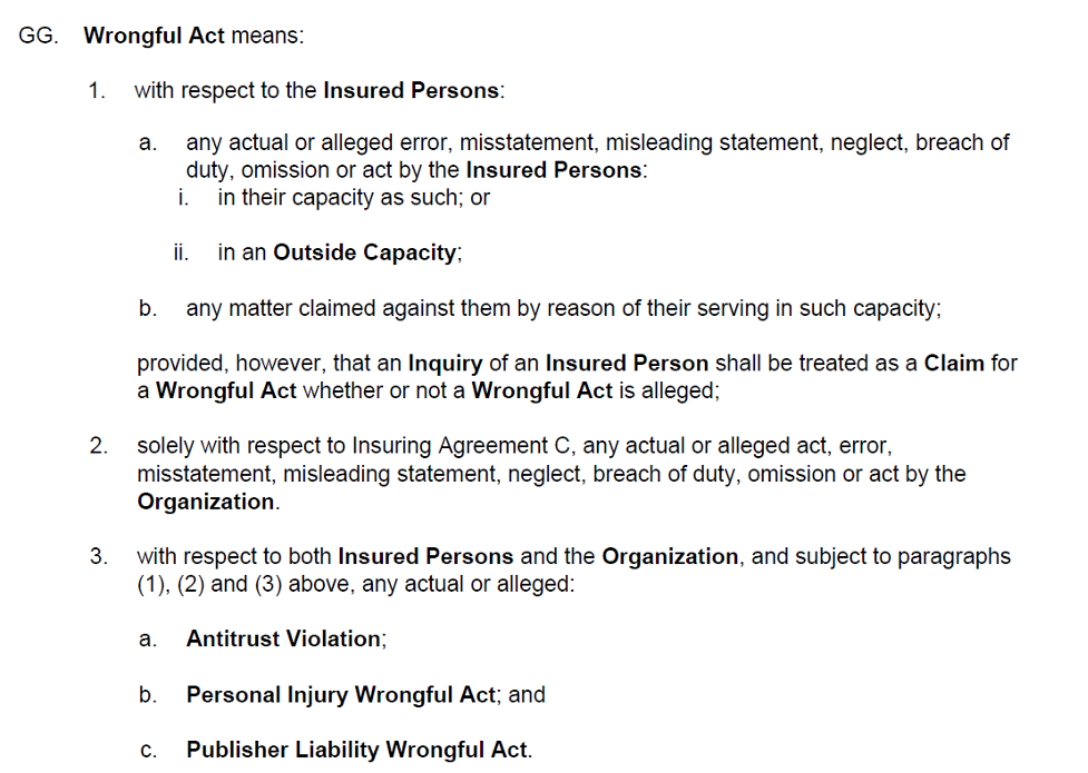 D&O Wrongful Act