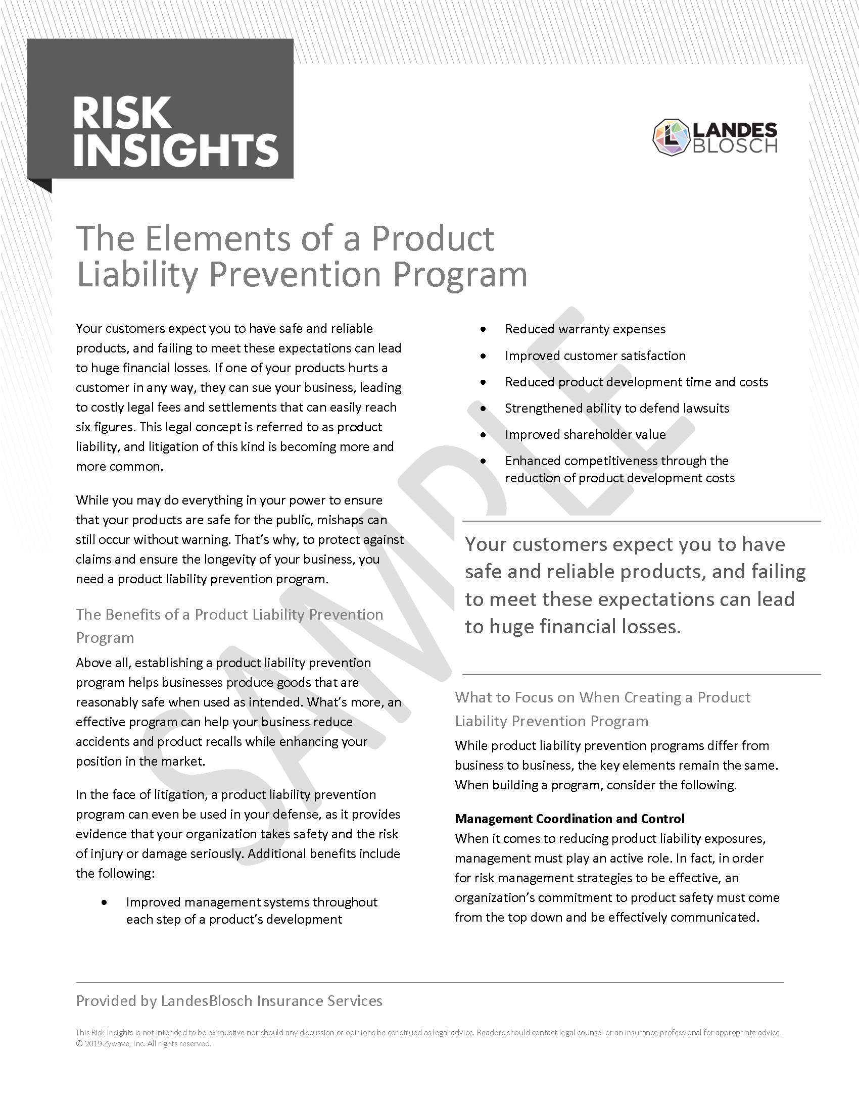 Risk Insights - The Elements of a Product Liability Prevention Program Page 1