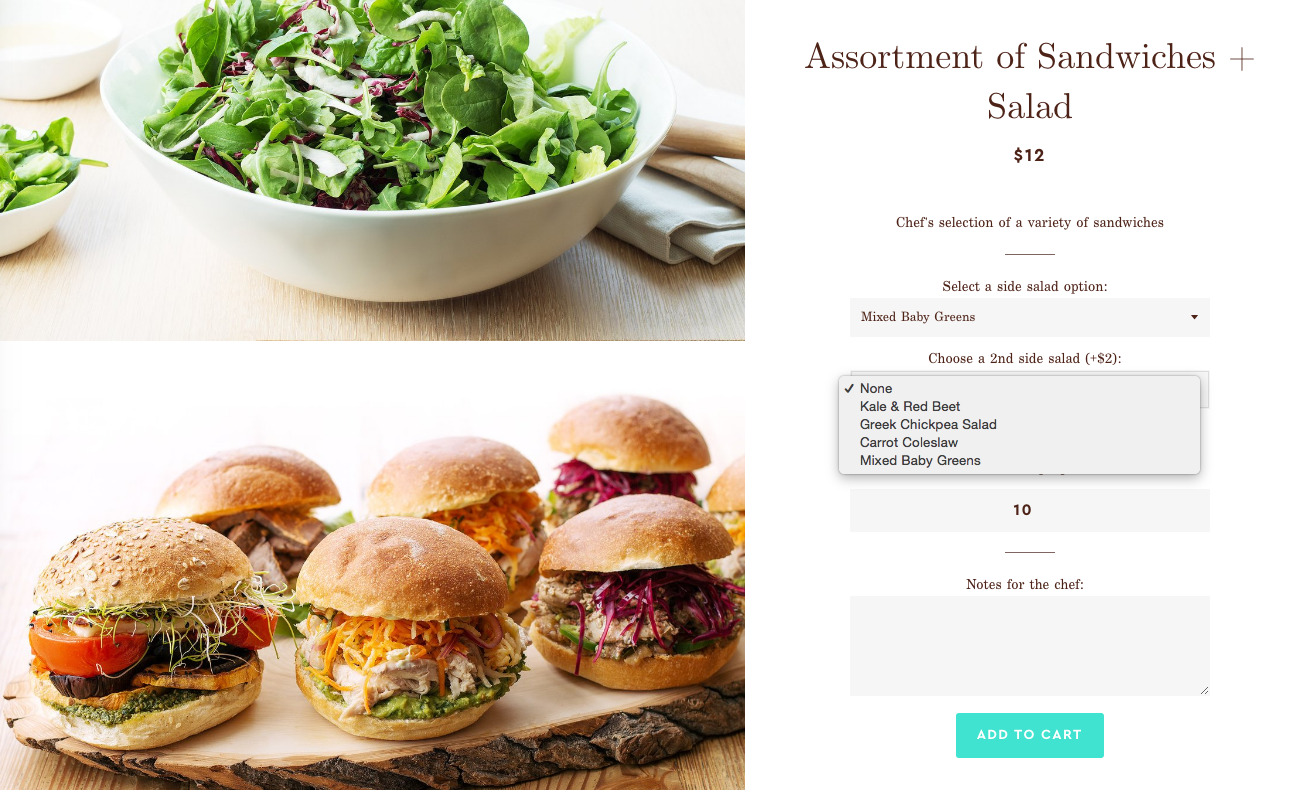 Catering Online - Salad and Sandwiches Combos