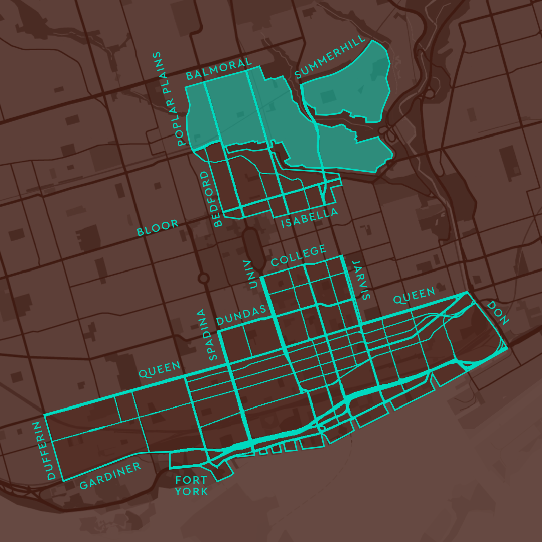 Service Area map Rosedale highlighted