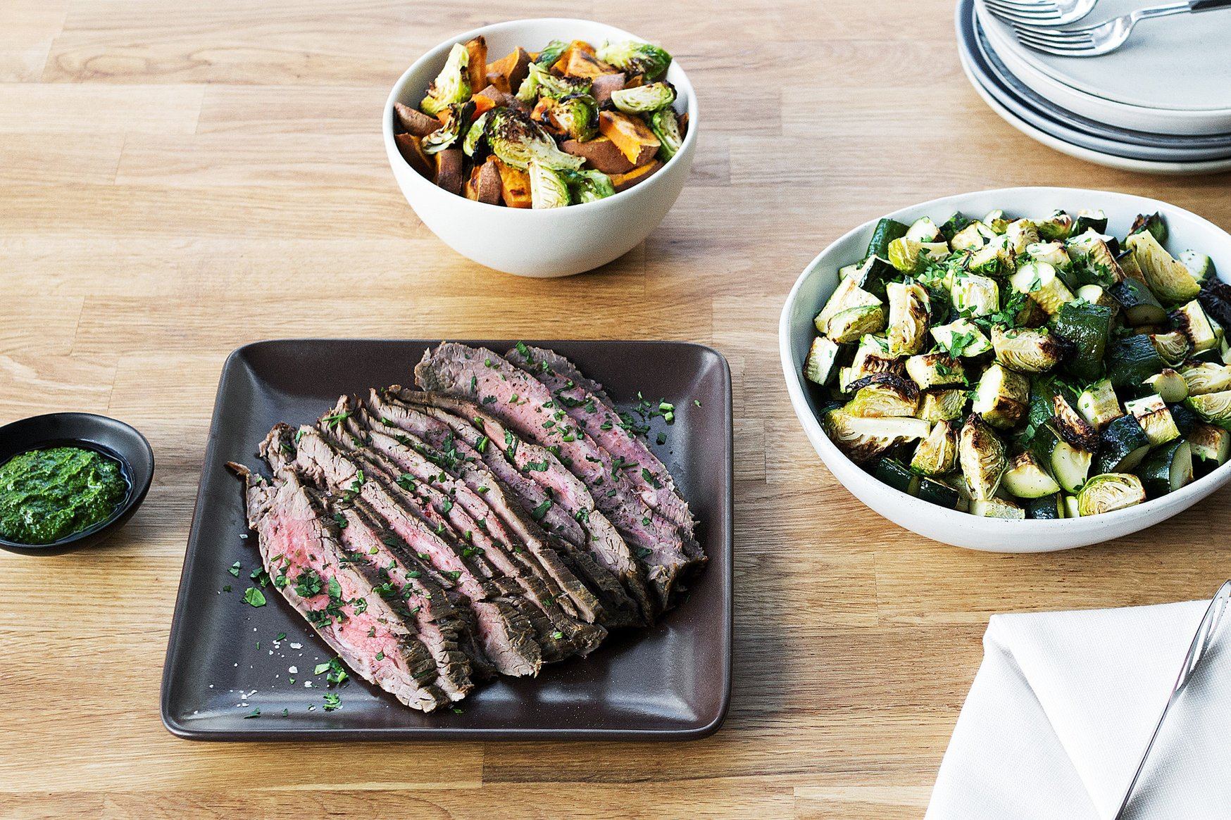 flank steak with fixings