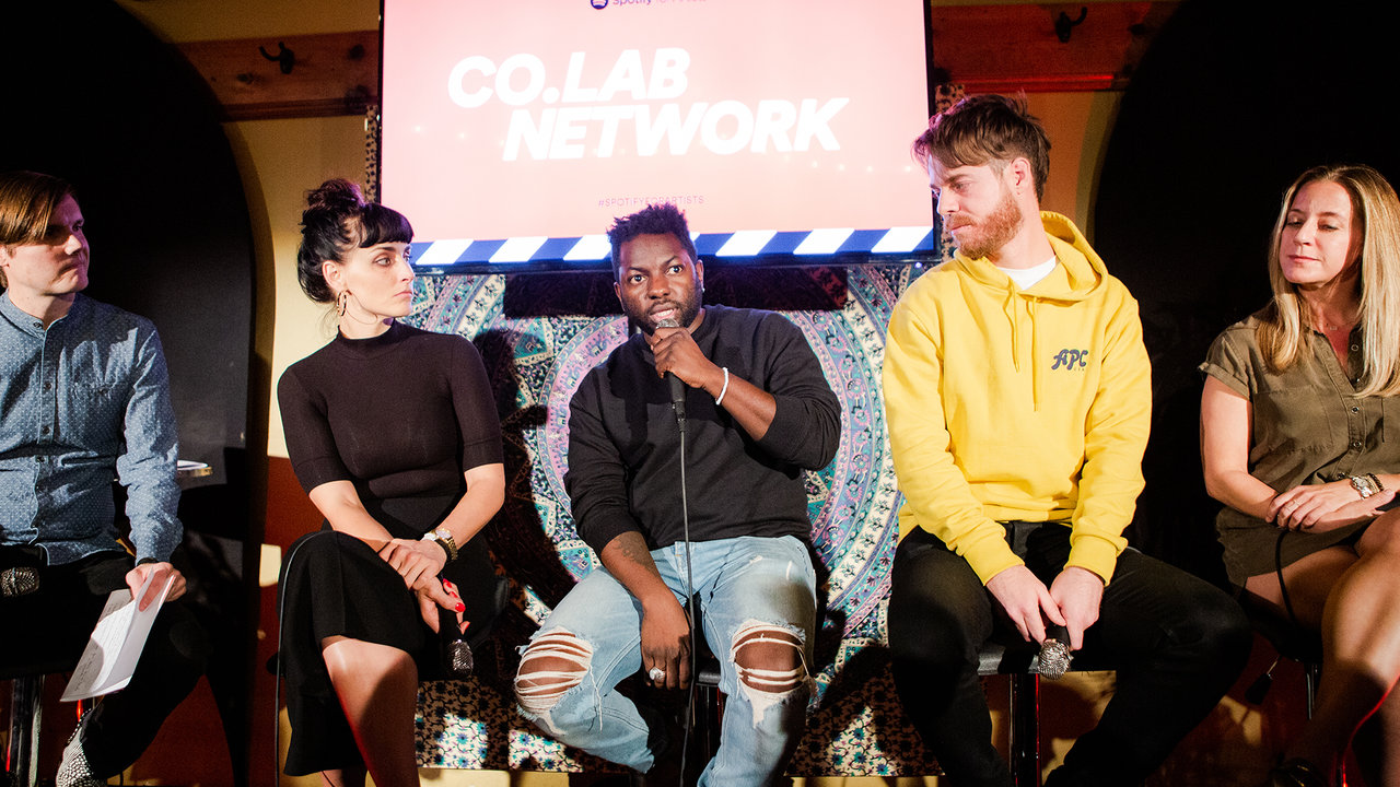Panelist Jamal Dauda speaks at the Spotify For Artists Co.Lab: Network event