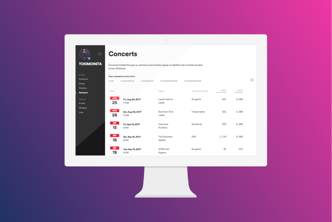 Introducing our new concerts section, available to all artists.