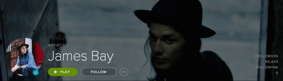 James Bay's new verified artist profile