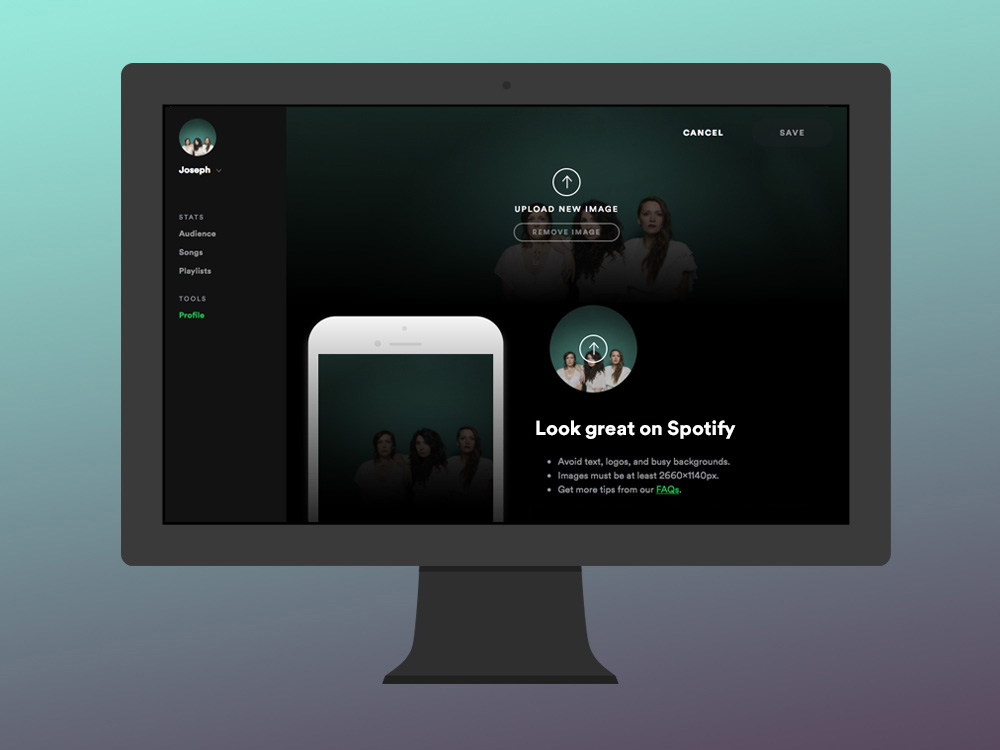 Updating your profile image with Spotify for Artists