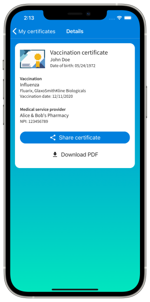 VaccTrack Vaccination Certificate