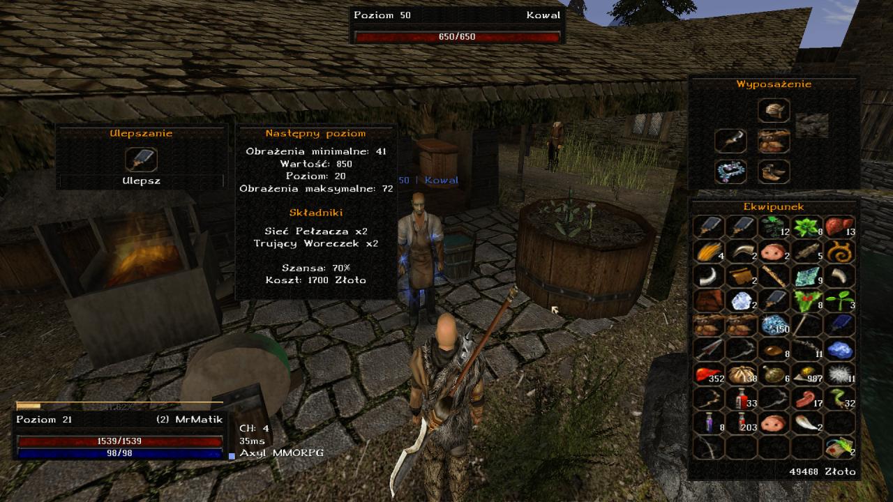 Gothic Online serwer MMORPG Axyl ulepszanie ekwipunku u kowala