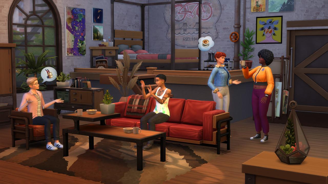 Industrialny Loft kolekcja w Sims 4 - screen z gry pokazujący mieszkanie w nowoczesnym amerykańskim stylu industrialnym