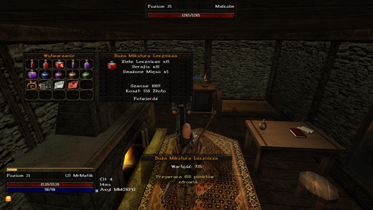 Gothic Online serwer MMORPG Axyl crafting przedmiotów w grze