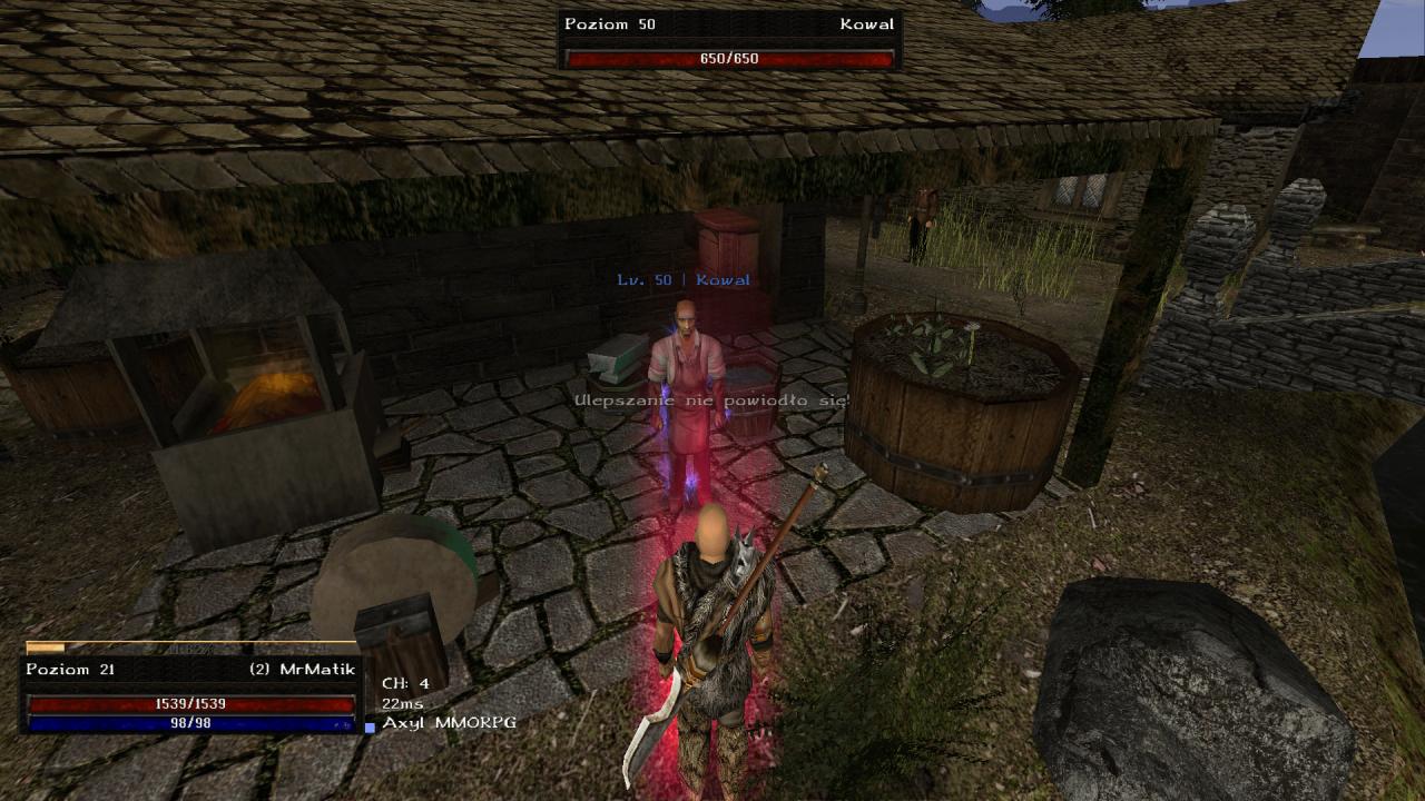 Gothic Online serwer MMORPG Axyl nieudane ulepszenie ekwipunku