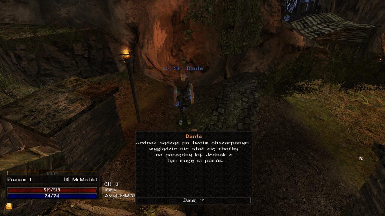 Rozmowa z pierwszym NPC w MMORPG Axyl w świecie Gothic Multiplayer