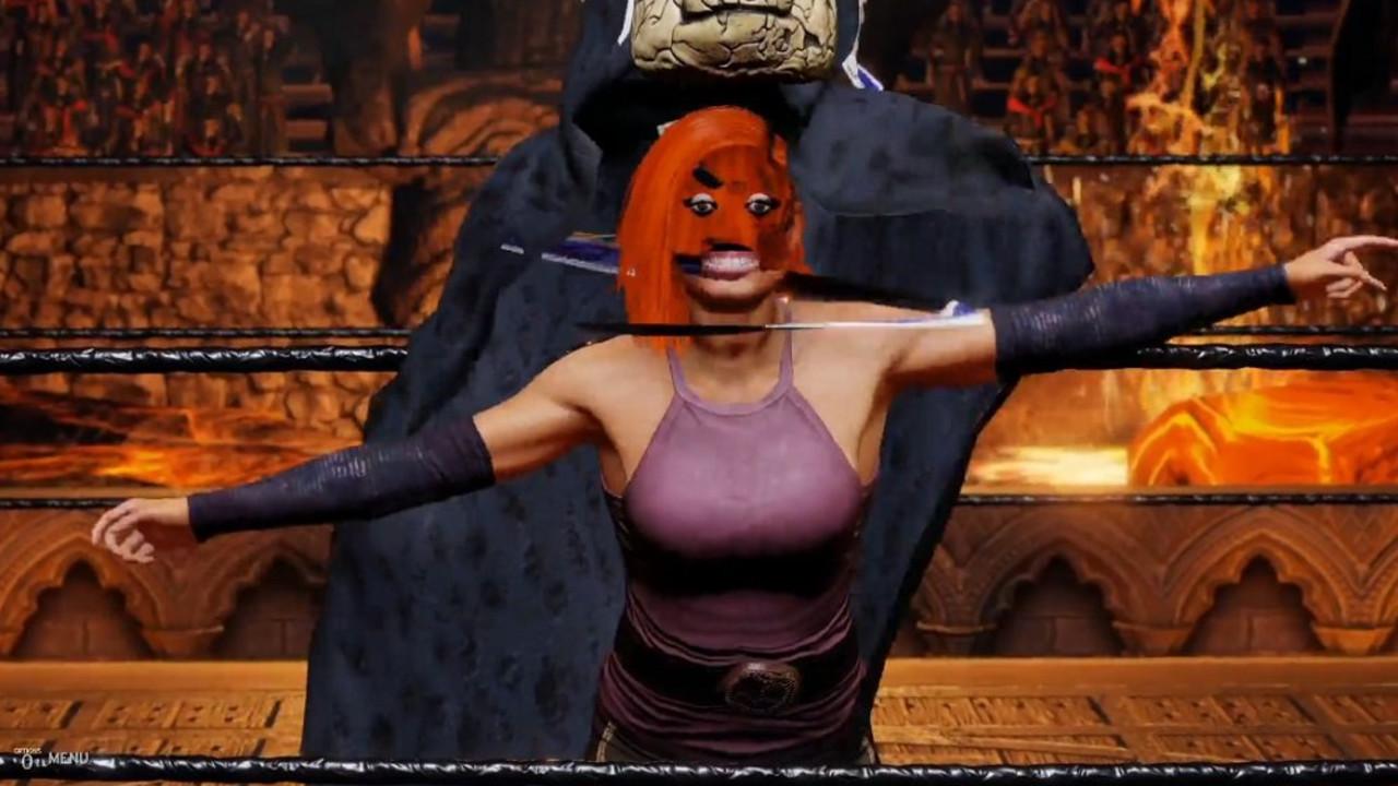 Screen z błędami WWE 2k20, gdzie zapaśniczka becky Lynch ma zdeformowaną twarz
