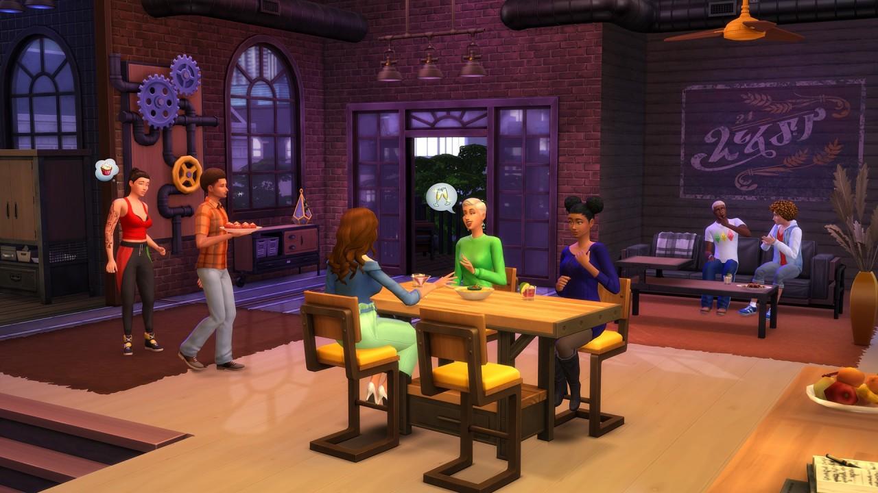Industrialny Loft w The Sims 4 screen z nowej kolekcji pokazujący nowe meble i wyposażenie