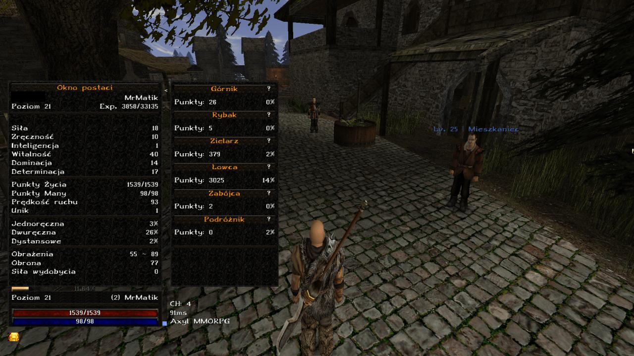 Gothic Online serwer MMORPG Axyl rozwój postaci tabela statystyk