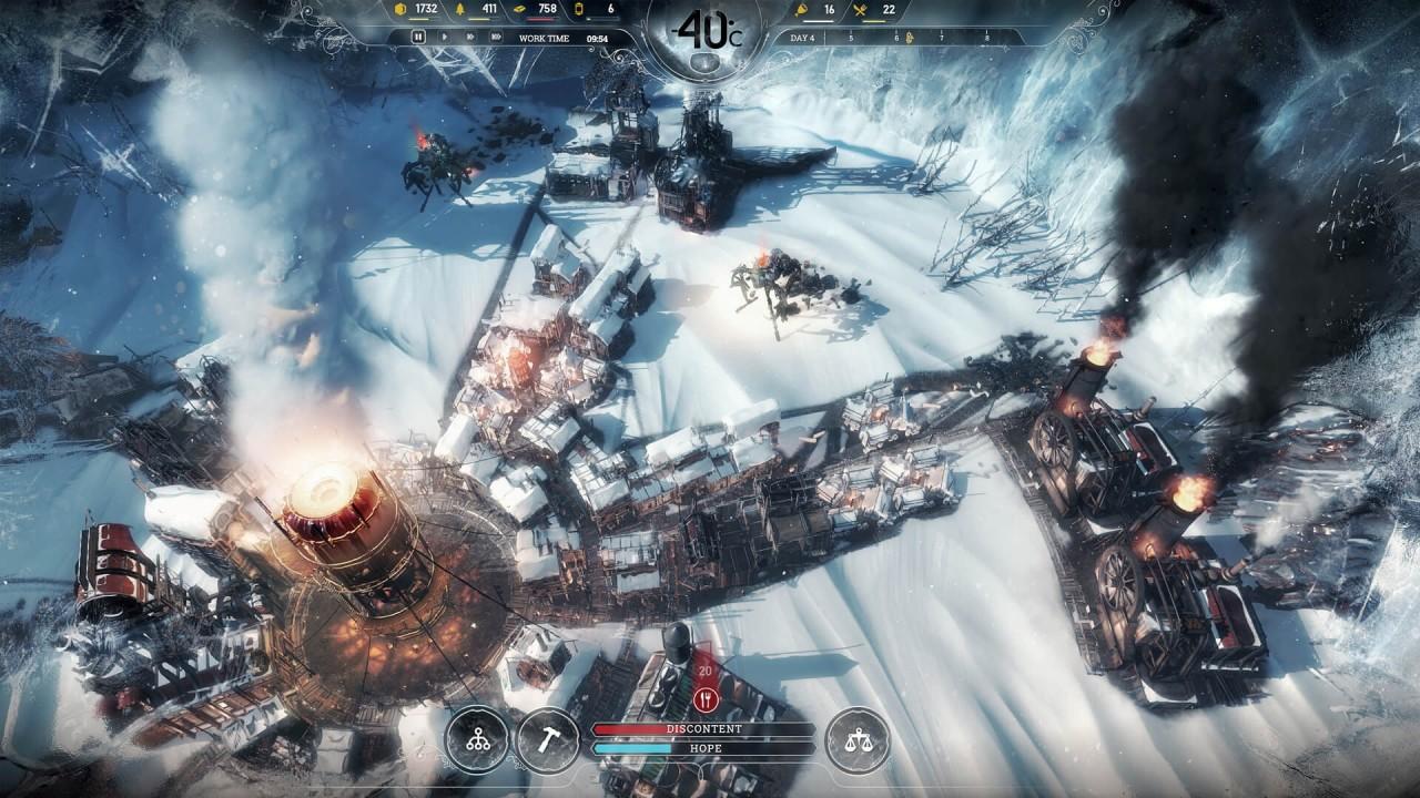 Frostpunk screen z gry PC, na podstawie której powstaje dobra gra na telefon