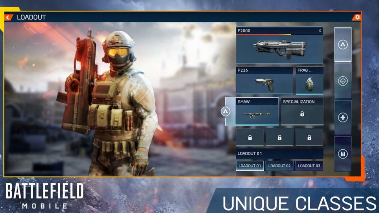 Battlefield Mobile na telefon wyposażenie postaci w grze na android